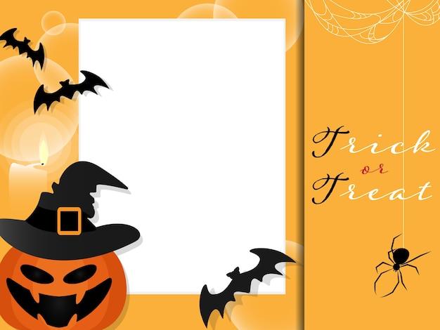 Halloween-hintergrund mit süßes sonst gibt's saures text. Premium Vektoren
