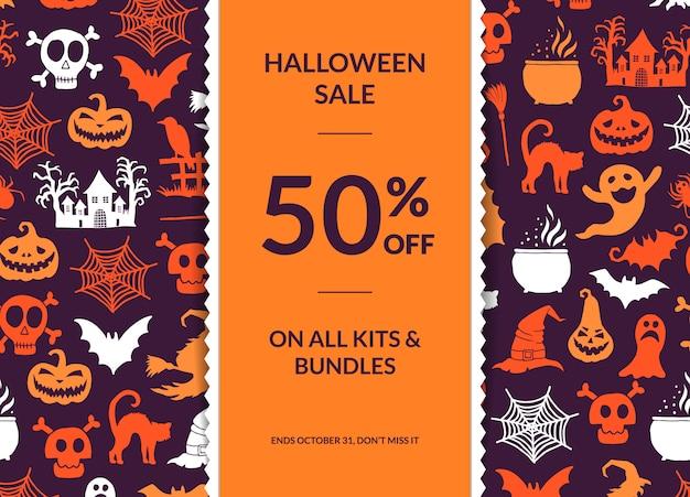 Halloween-hintergrund mit vertikalem dekorativem band Premium Vektoren