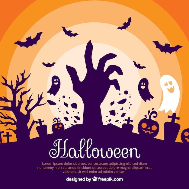 Halloween-hintergrund mit zombie und geister Kostenlosen Vektoren