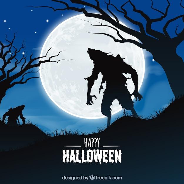 Halloween-hintergrund mit zombie Kostenlosen Vektoren