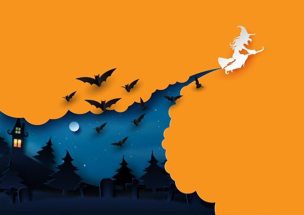 Halloween-hintergrundkonzeptpapier-kunstart. Premium Vektoren