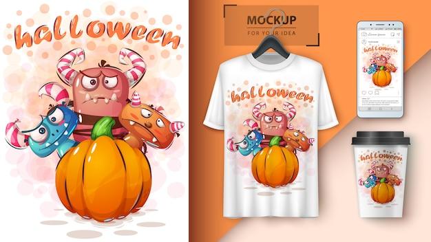 Halloween horrorplakat und merchandising Premium Vektoren