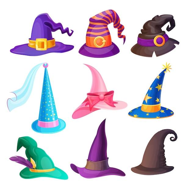 Halloween-hüte isoliert eingestellt mit karikaturkappen der hexe Premium Vektoren