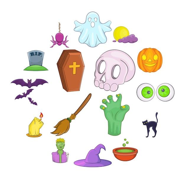 Halloween-ikonen eingestellt, karikaturart Premium Vektoren