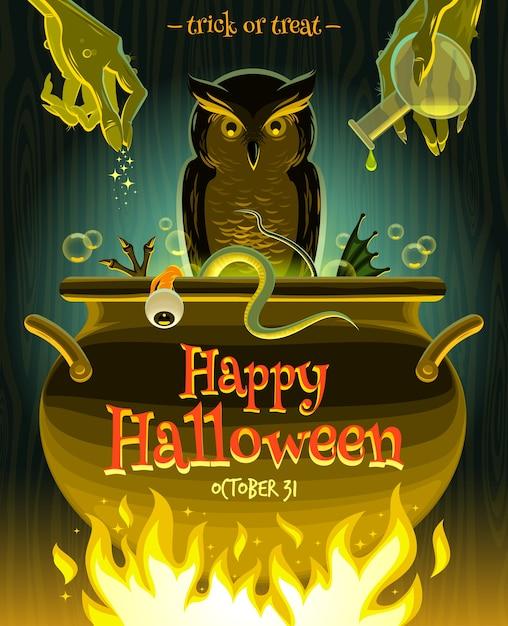 Halloween-illustration - hexe kocht gifttrank im kessel Premium Vektoren