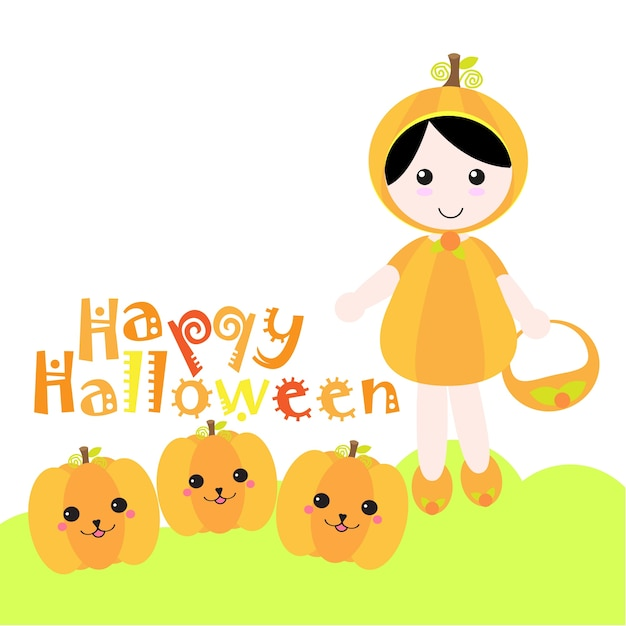 Halloween Illustration Mit Jack O Laterne Und Mädchen Trägt Kürbis  Gewohnheit Verwendbar Für Halloween
