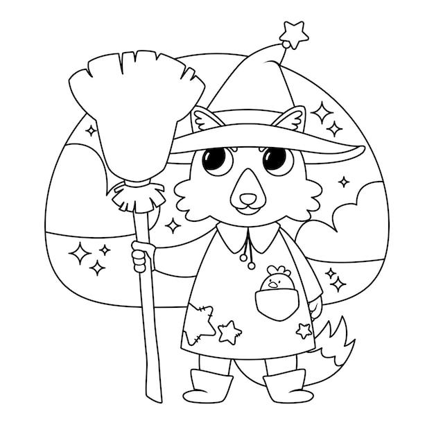Halloween-illustration mit wolfhexe Premium Vektoren