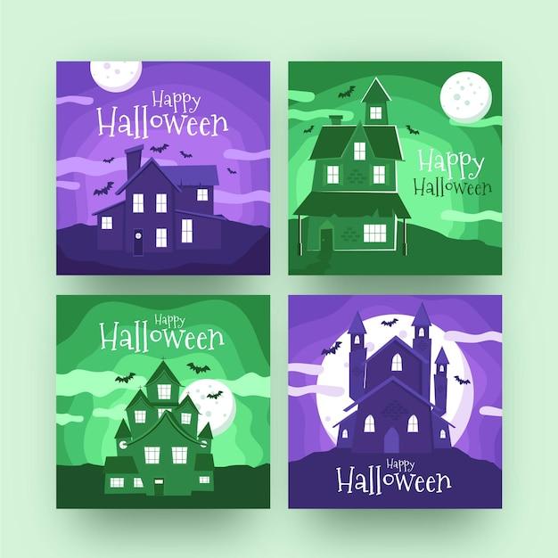 Halloween instagram beiträge gesetzt Kostenlosen Vektoren