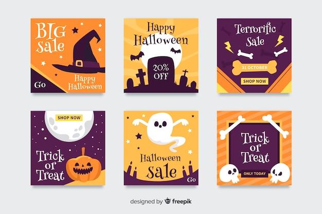 Halloween instagram beitragssammlung Kostenlosen Vektoren