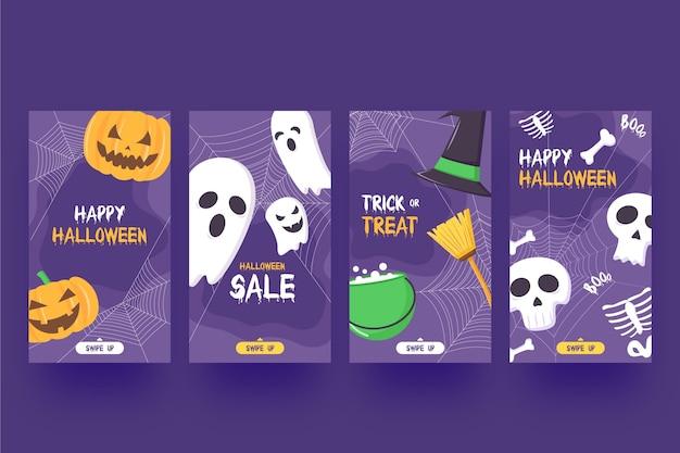 Halloween instagram geschichten gesetzt Kostenlosen Vektoren