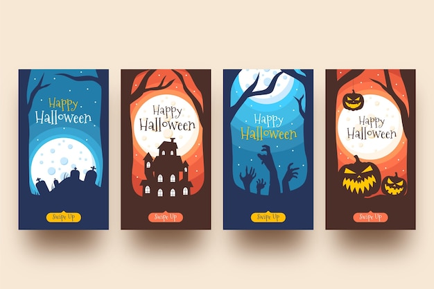 Halloween instagram geschichten packen Kostenlosen Vektoren