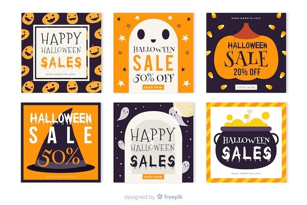 Halloween instagram geschichten sammlung für verkäufe Kostenlosen Vektoren