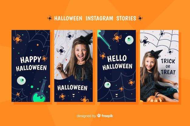 Halloween instagram geschichten sammlung Kostenlosen Vektoren