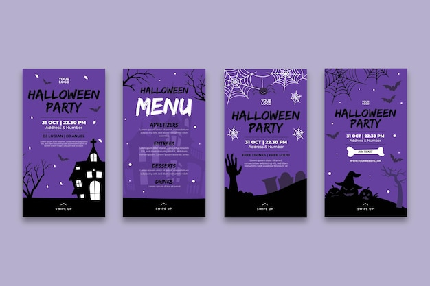 Halloween instagram geschichten Kostenlosen Vektoren