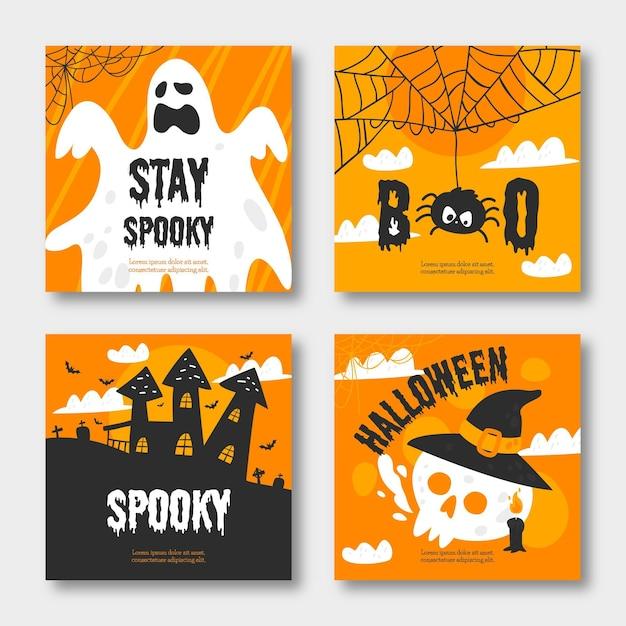 Halloween instagram post sammlung Kostenlosen Vektoren