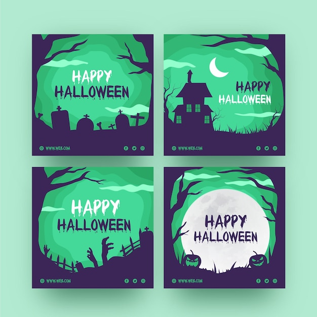 Halloween instagram posts pack Kostenlosen Vektoren