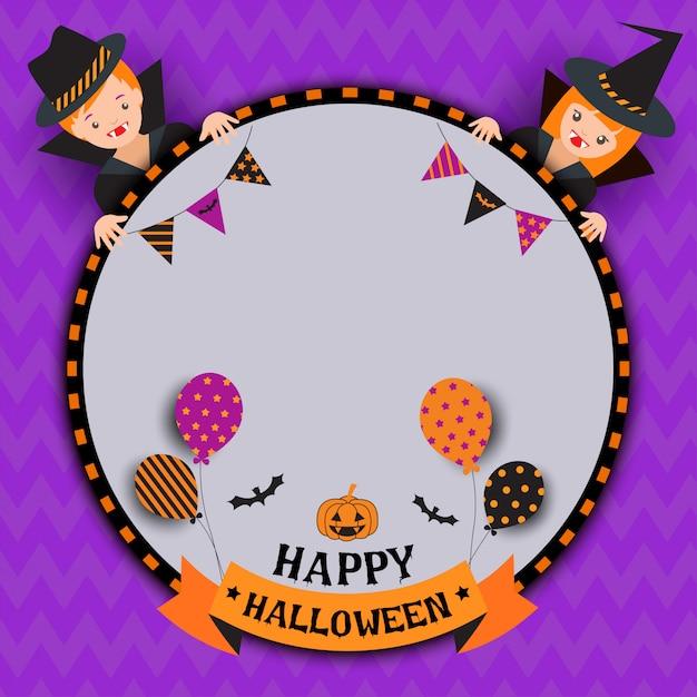 Halloween-junge-mädchen Premium Vektoren