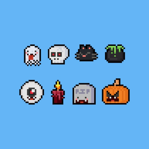 Halloween-karikatur-ikonensatz der pixelkunst netter Premium Vektoren