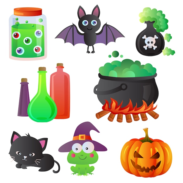Halloween-karikaturikonen-einzelteilsatz Premium Vektoren