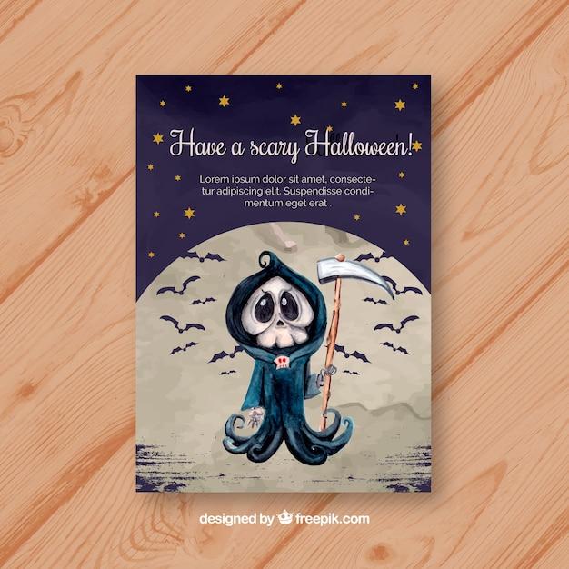 Halloween-karte mit aquarell-tod Kostenlosen Vektoren