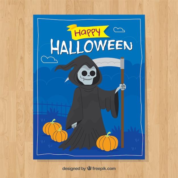 Halloween-karte mit dem tod Kostenlosen Vektoren
