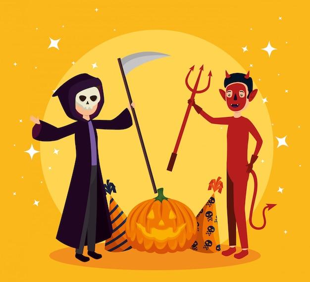 Halloween-karte mit todesverkleidung und -teufel Kostenlosen Vektoren