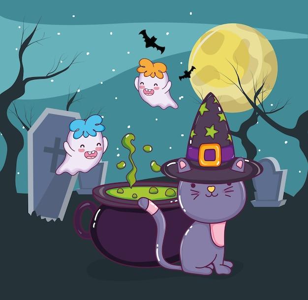 Halloween katze und geister Premium Vektoren