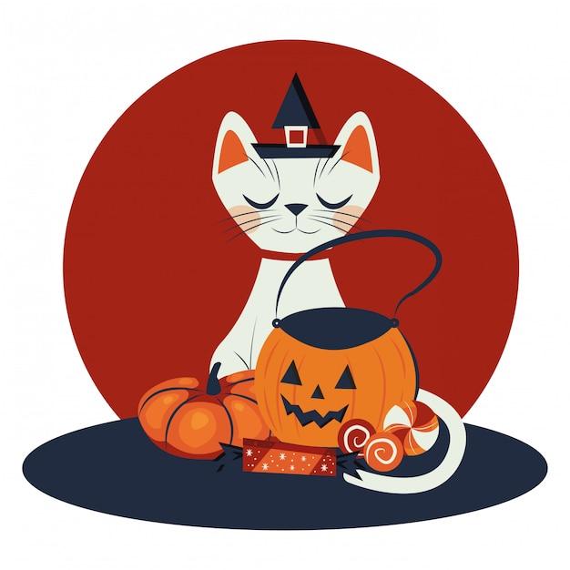 Halloween-katze verkleidet vom hexencharakter Kostenlosen Vektoren