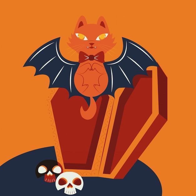 Halloween-katze verkleidet vom vampirscharakter Kostenlosen Vektoren