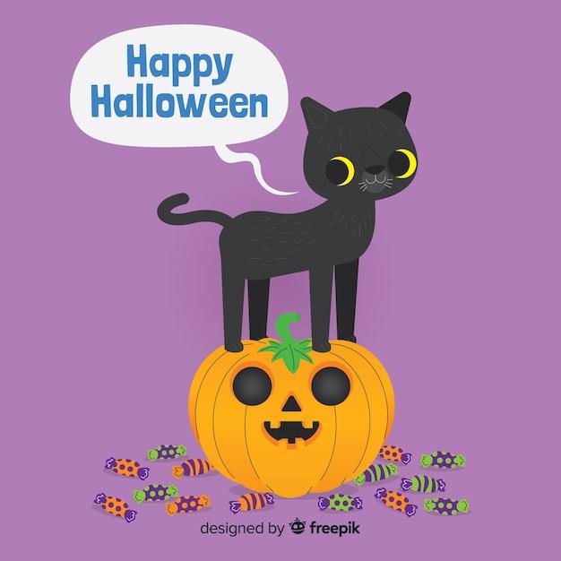 Halloween-katzenhintergrund im flachen design Kostenlosen Vektoren
