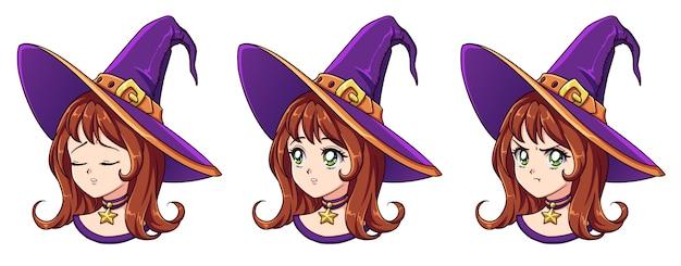 Halloween kawaii hexe mit acht verschiedenen gesichtsausdrücken Premium Vektoren