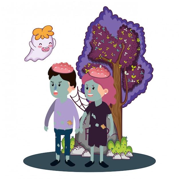 Halloween kinder cartoons Premium Vektoren