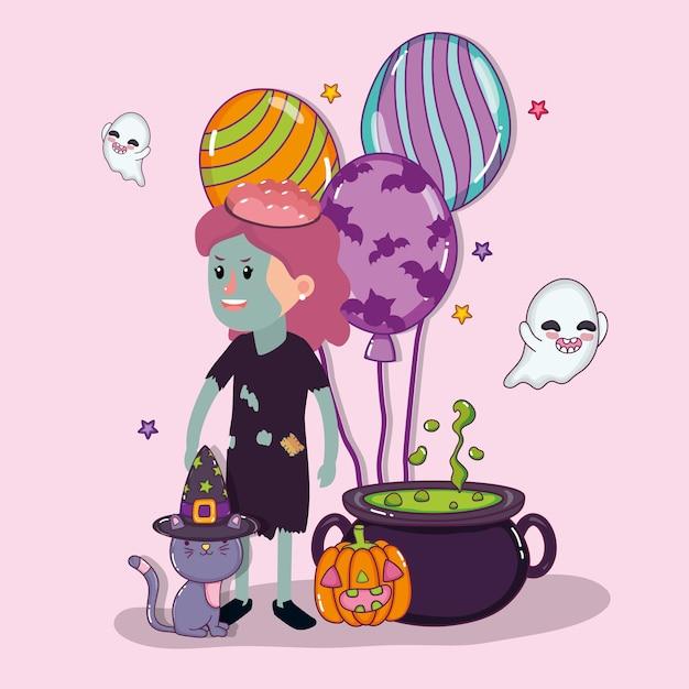 Halloween kinder feier cartoons Premium Vektoren