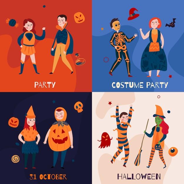 Halloween kinder in kostümen bannersammlung Kostenlosen Vektoren