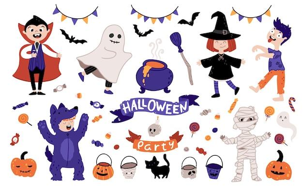 Halloween kinder kostüm party set. eine gruppe von kindern in verschiedenen kostümen für den urlaub. illustration von zeichen und elementen im einfachen handgezeichneten cartoonstil. Premium Vektoren
