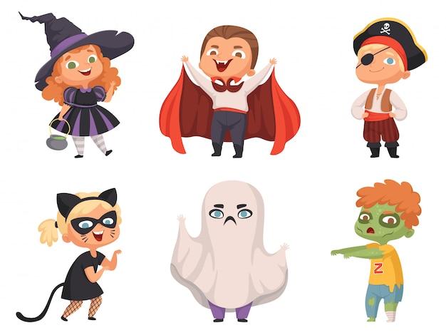 Halloween kinder. partykinder gruselige charaktere kostüm hexe vampir cartoon halloween-sammlung Premium Vektoren