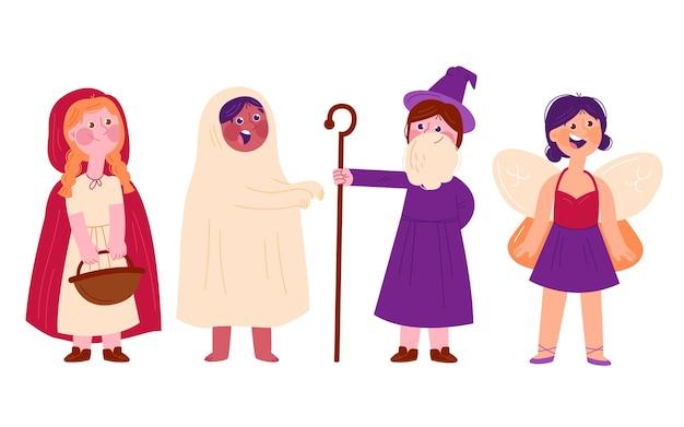 Halloween-kinder-set Kostenlosen Vektoren