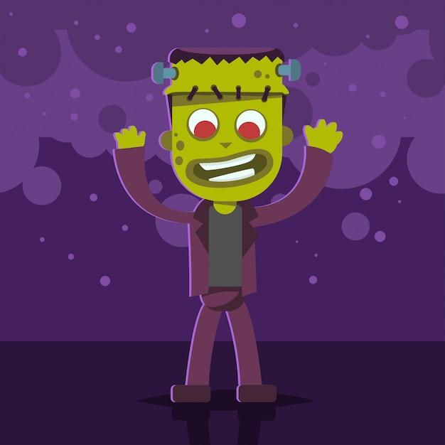 Halloween-kinderkostüm des monsters auf einem lila abstrakten hintergrund. vektor niedliche karikatur flache figur für urlaub und party. vorlagenentwurf für das plakat. Premium Vektoren