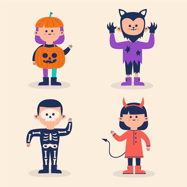 Halloween-kinderkostüme eingestellt Kostenlosen Vektoren