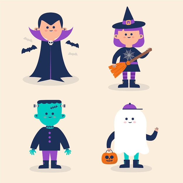 Halloween kinderkostüme sammlung Kostenlosen Vektoren
