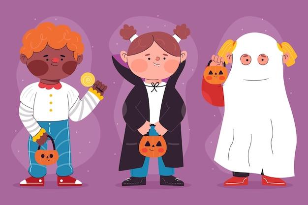 Halloween-kinderpackung mit flachem design Kostenlosen Vektoren