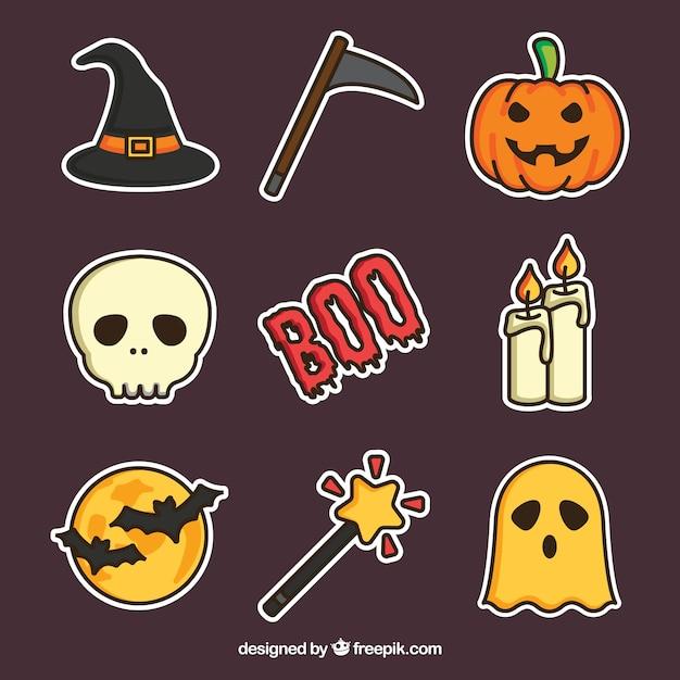 Halloween-kollektion mit flachem design Kostenlosen Vektoren