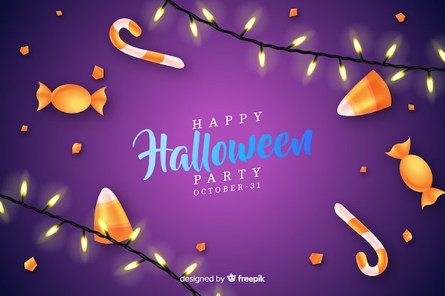Halloween-konzept mit realistischem hintergrund Kostenlosen Vektoren