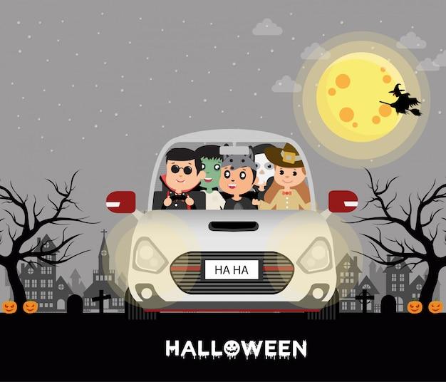 Halloween kostüm kinder. im auto vollmond Premium Vektoren