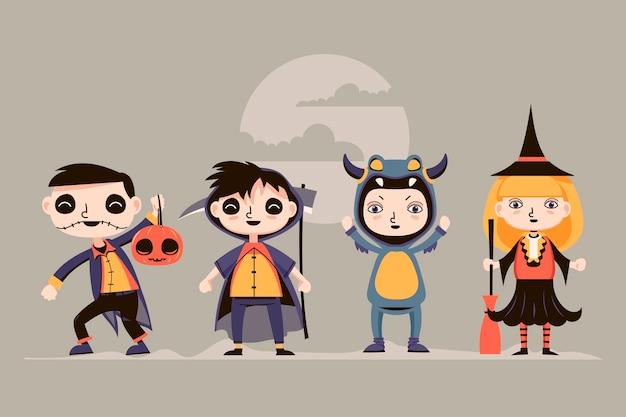 Halloween-kostüme für kinder Premium Vektoren