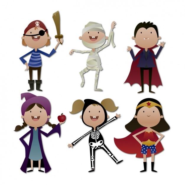 Halloween-kostüme sammlung Kostenlosen Vektoren