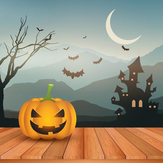 Halloween-kürbis auf einem holzdeck gegen eine gespenstische landschaft Kostenlosen Vektoren