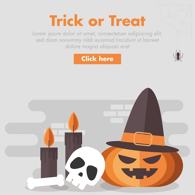 Halloween-kürbis-flache design-illustration Premium Vektoren