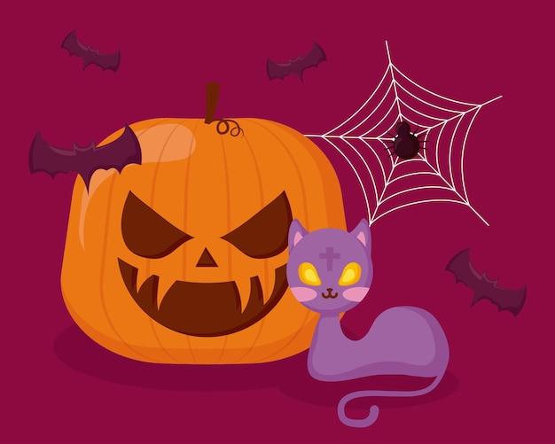 Halloween kürbis mit katze und fledermäusen Kostenlosen Vektoren