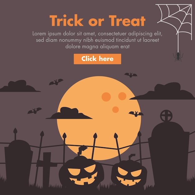 Halloween-kürbis-und friedhofs-flache design-illustration Premium Vektoren